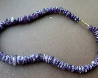 Raw Polished Amethyst Necklace - Vintage - Purple.