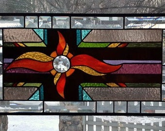 FLAMING JEWEL  Stained Glass Window Panel (Signed and Dated)