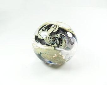 Art Glass Paperweight in White, Black and Beige, retirement gift, wedding gift, gift for him