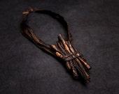 40% OFF Sale Unique Designer statement leather necklace Copper color Unique leather jewelry