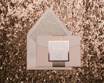 Foil - Fancy Rose Gold Glitter Pocket Folder Wedding Invitations - SAMPLE (ADELE)