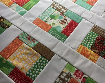 Farm Fun by Stacy Iest Hsu for Moda -  Quilt Top Unfinished - baby sized - 38 x 38 inch / ready to quilt / cows, barn, horse / shower gift