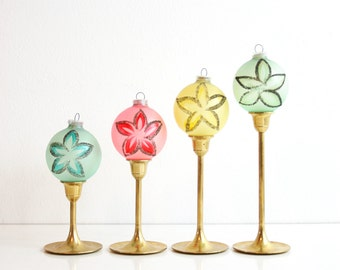 Mid Century Christmas Ornaments / Retro Pastel Ornaments / Hand Decorated West German Glass Ornaments