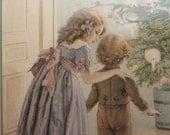 Antique Christmas Card Vintage Postcard Children Tree Repro Ephemera Lot 5