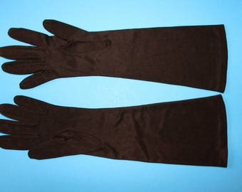 """Vintage Dark Brown  Elbow length Gloves by Hansen, """"Complexion"""", 1950's or 1960's Era"""