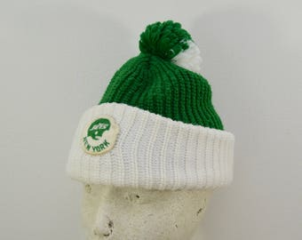 Vintage NEW YORK JETS winter hat with pom 1970's made in usa