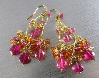 20 Off Pink Tourmaline With Sapphire And Quartz Gold Filled Cluster Chandelier Earrings