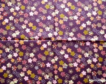 Scrap / Kimono Fabric - Sakura on Purple - Fat Quarter