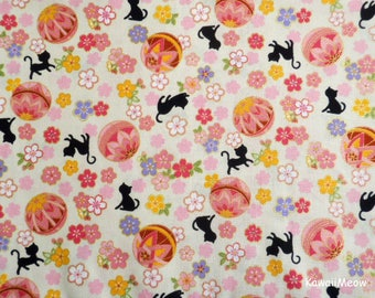 Cute Kimono Fabric - Temari Cats Sakura on Cream - Fat Quarter (nu170419)