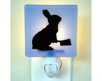 Funny Bunny Glass Night Light, Hand Painted Fused Glass