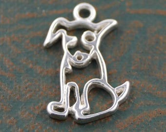 Sterling Silver Dog Pendant 14x10 mm, Sterling Openwork Solid 925 Silver, Animal Pendant, Animal Charm, Dog Charm, FH5HS