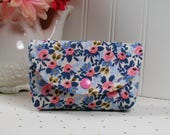 Small Snap Pouch, Accessory Pouch, Small Cosmetic Pouch ...Les Fleurs Rosa in Periwinkle, Rifle Paper Co