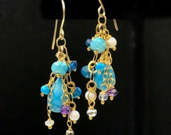 Turquoise Dangle Earring Wire Wrap Gemstones 14kt Gold Fill Colorful Amethyst Cluster Earrings Turquoise Chain Earrings December Birthstone