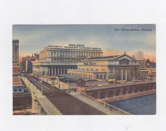 Vintage 1956 post card Union railroad station Chicago, Illinois