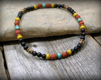 Mens Bracelet, Native American Beaded Bracelet, Womens Bracelet, Tribal Jewelry, Minimalist 4mm Bead Bracelet, Southwestern Boho Bracelet