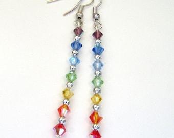 chakra earrings, rainbow earrings, crystal ear rings, Rainbow crystals, pride gems, 7 chakra jewelry, tiny rainbow, color spectrum,