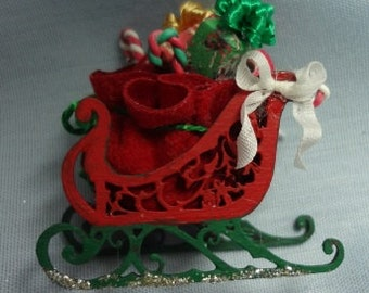Miniature Handmade Santa Sled Filled with Presents
