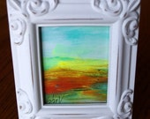 SALE Original Painting ACEO with Frame Summer Fields unique one of a kind gift , hand made, hand painted