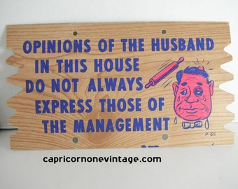 Vintage Novelty Postcard Opinions Of The Husband  1960s Postcard Plack Mailer Vintage Kitsch Mid Century Wall Decor Movie Prop Gag Gift