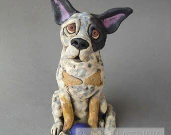 Australian Cattle Dog or Queensland Heeler Ceramic Sculpture