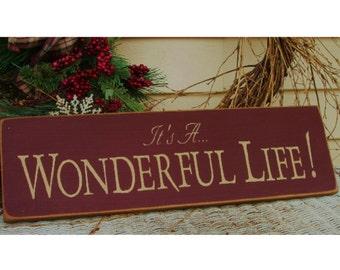It's A Wonderful Life primitive wood sign Christmas