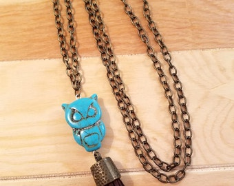 Owl Stone Tassel Necklace