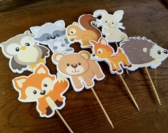 Forest Friends Party - Set of 24 Double Sided Assorted Forest Friends Cupcake Toppers by The Birthday House