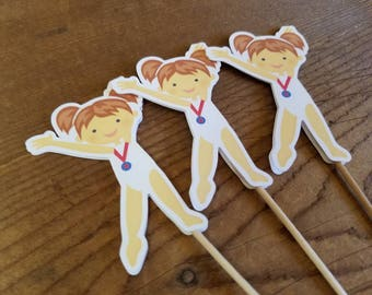 USA Gymnastics Girls Party - Set of 12 Brunette Gymnast Cupcake Toppers by The Birthday House