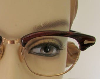 Vintage Cat Eye Glasses Eyeglasses Frames 12K Gold Filled Tortoise Like Frames gold Trim 1950s Rhinestones