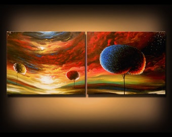 fall autumn art painting diptych landscape red sky tree painting abstract landscape art original painting 56 x 22