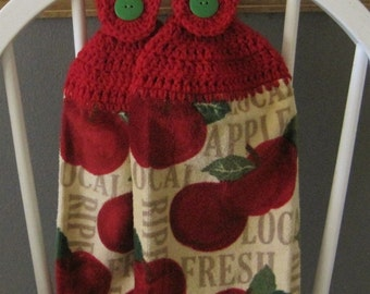 2 Crocheted Hanging Kitchen Towels - Apples