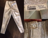 RESERVED 1950s bombshell silver lurex fredericks of hollywood cigarette pants/ capris// pinup girl //hollywood glan