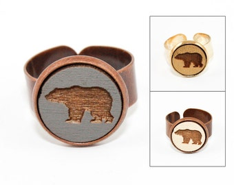 Bear Ring - Laser Cut - Engraved Wood in Adjustable Setting (Choose Your Color / Made To Order)