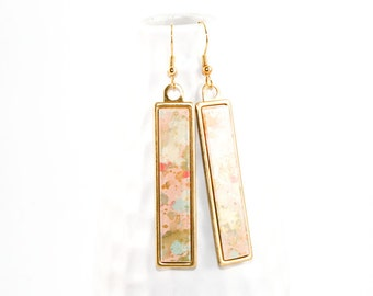 Splatter Painted Dangle Earrings - Acrylic in Long Brass Rectangle Setting - Rose Gold Colorway: Pale Pink, Gold, Coral