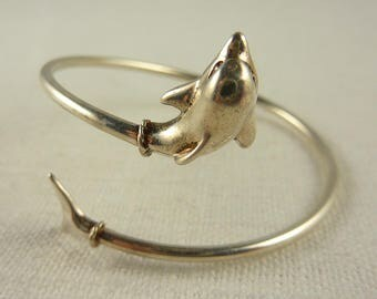 Vintage Sterling Petite/Child's Wrap Dolphin Bangle