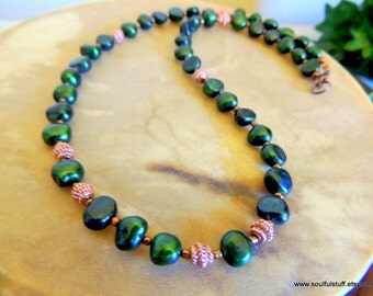 Emerald Green Freshwater Pearl Necklace, Copper and Pearl Jewelry, Handcrafted Jewelry, Celtic Jewelry