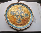 Vintage Florentine Tray * Florence Italy * Handmade Wood Tray * Antique Gold and Blue * Carved Wood * Italy * Holiday Serving Tray