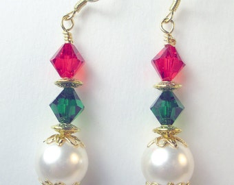 Red and Green crystals with glass pearl dangle earrings, Christmas earrings, holiday earrings, gold earrings, red green gold white, xmas