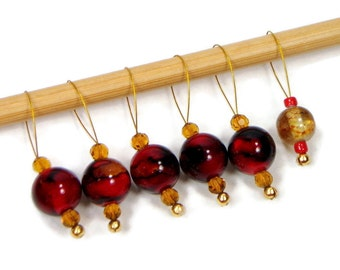 Knitting Stitch Markers Snag Free Burgundy Red Maroon Gold DIY Knitting Tools Gift for Knitter Craft Supplies