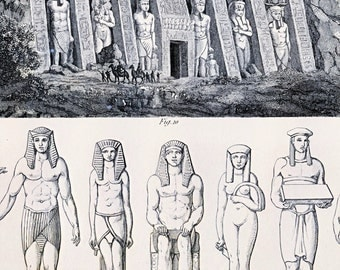 Antique Print of Ancient Egyptian Statues - Temple of Hathor at Ipsambul - 1852 Vintage Print - Plate 2