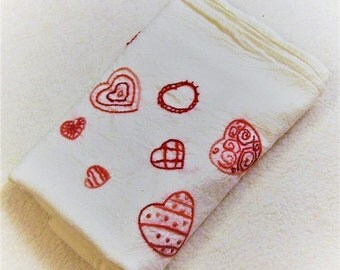 Hand Embroidered Dish Towels, Kitchen Dish Towel, Valentines Day Towel