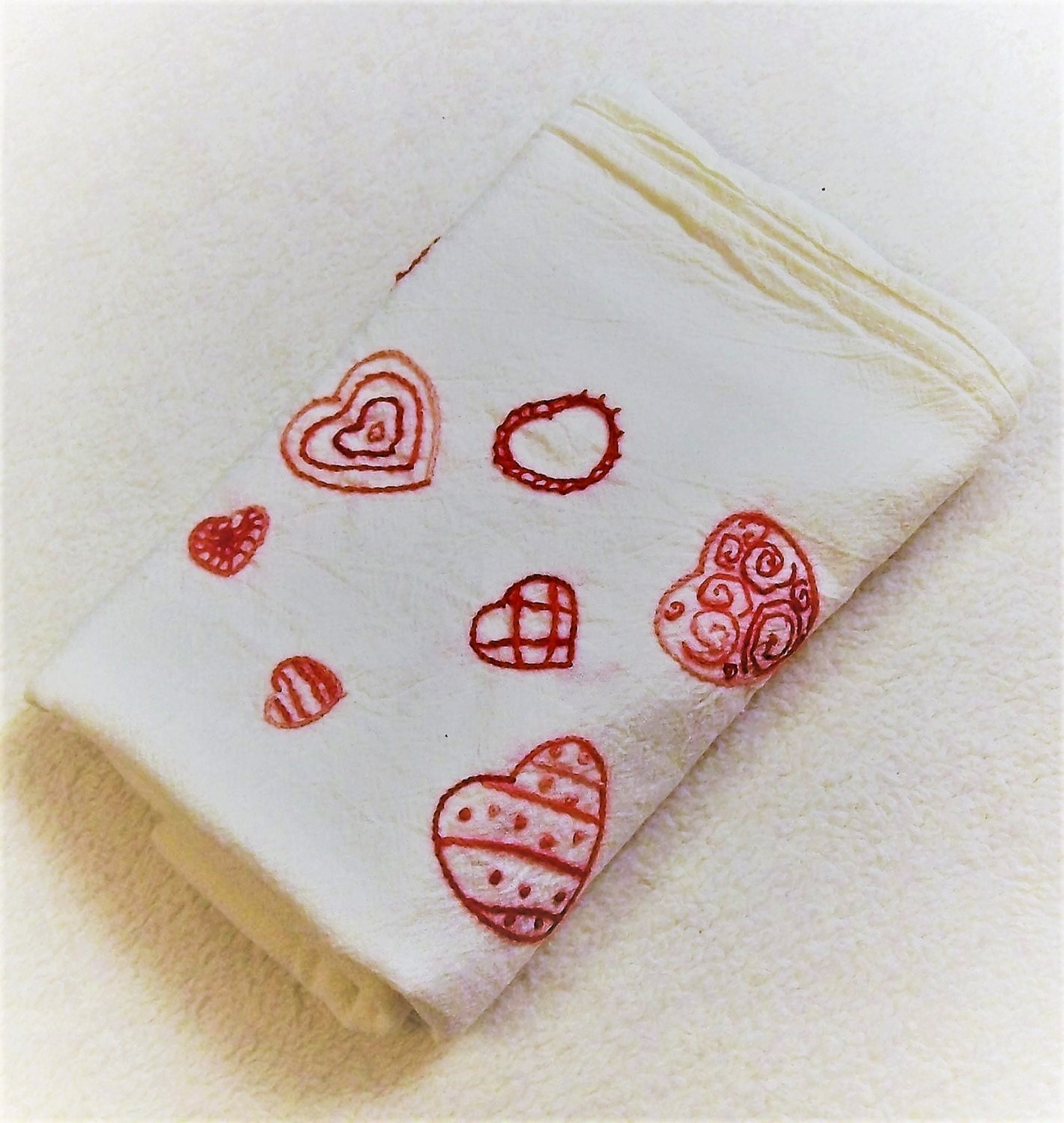 Hand Embroidered Dish Towels Kitchen Dish Towel Valentines