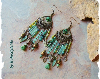 Boho Nature Inspired Assemblage Earrings, Unique Blue Green Leaf Jewelry, Mixed Media Jewelry, BohoStyleMe, Kaye Kraus