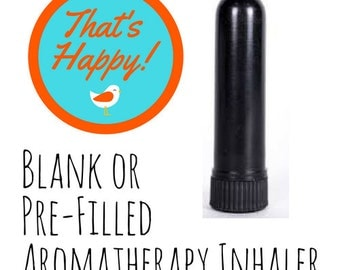 Aromatherapy Inhaler - Plain Black-  Filled with Your Choice of Essential Oil Blend
