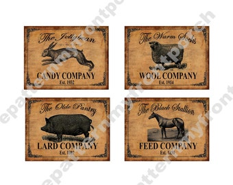 Labels Printable , Primitive Download , Sheep Horse Pig Rabbit for pantry jars cans crocks bottles tins boxes , iron on transfer , farmhouse