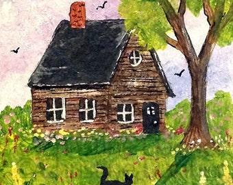 Original Art Cabin, Cat & Flowers ACEO Painting