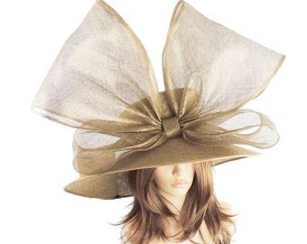 Metallic Gold Crossbill Hat for Kentucky Derby, Weddings (40 colours available)