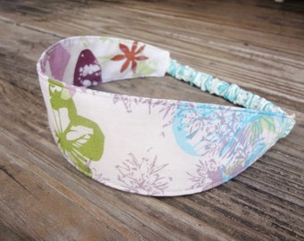 Fabric Headband with Elastic: Spring Lavendar and Green Floral on Beige