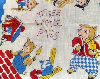 Children's Hankies / Cartoon Character Hankies / Vintage Hankies / Three Little Pigs / Dancing Bears / Retro  Linens / Vintage Linens