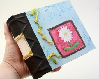 Chunky Journal, Quarterleatherbinding, with a leather spine and painted front cover